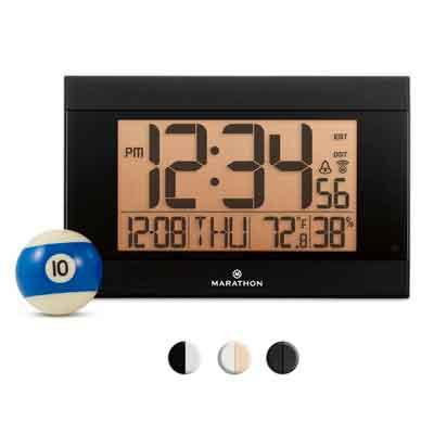 MARATHON CL030052BK Atomic Digital Wall Clock With Auto-Night Light