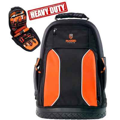 Rugged Tools Pro Tool Backpack - 40 Pocket Heavy Duty Jobsite Tool Bag Perfect Storage & Organizer for a Contractor