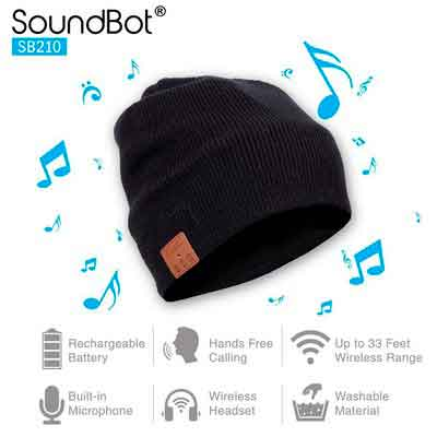 Soundbot SB210 HD Stereo Bluetooth 4.1 Wireless Smart Beanie Headset Musical Knit Headphone Speaker Hat Speakerphone Cap