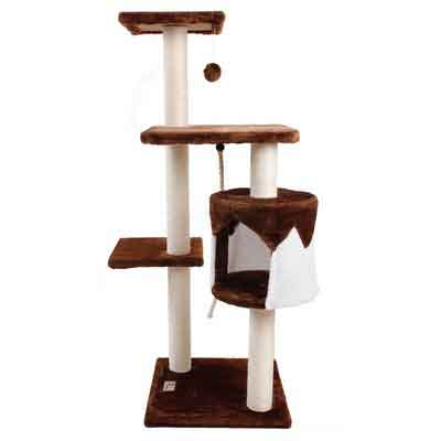 PET SHINEWINGS Cat Tower Play House Condo Furniture Scratching Post