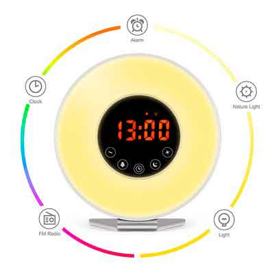 Wake Up Light Alarm Clock  7 Color Light