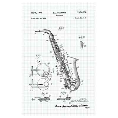 Saxophone - Graphite on Graph Paper - Instrument Patents - 12x18 Matte Poster Print Wall Art