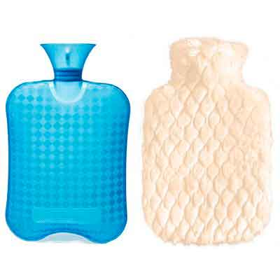 DUOCAI Rubber Hot Water Bottle with Super Soft Fur Cover for Pain