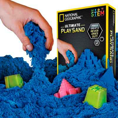 National Geographic Play Sand - 2 LBS of Sand with Castle Molds and Tray