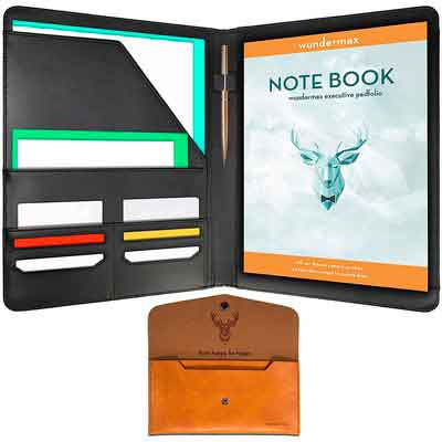 Wundermax Padfolio Portfolio/ Executive Leather Padfolio - Bonus Wallet
