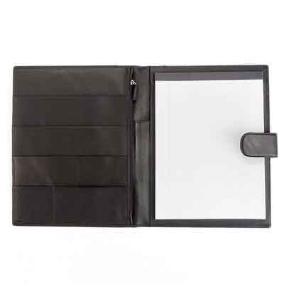 Leatherology Organizer Portfolio with Tablet Pocket & Magnetic Closure - Full Grain Leather - Black Onyx