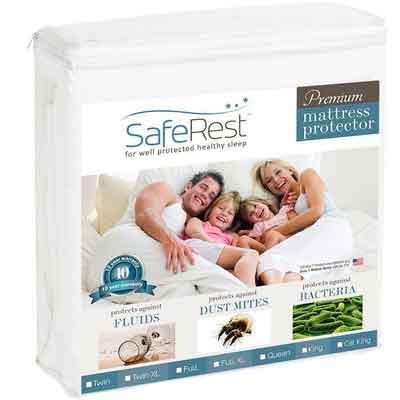 Queen Size SafeRest Premium Hypoallergenic Waterproof Mattress Protector - Vinyl Free