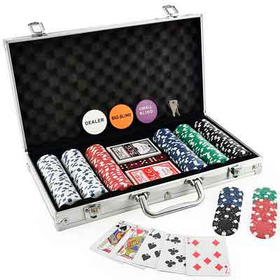 KOVOT 300 Chip Dice Style Poker Set In Aluminum Case