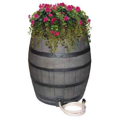 EMSCO Group Rescue 50-Gallon Whiskey Rain Barrel  Includes Planter