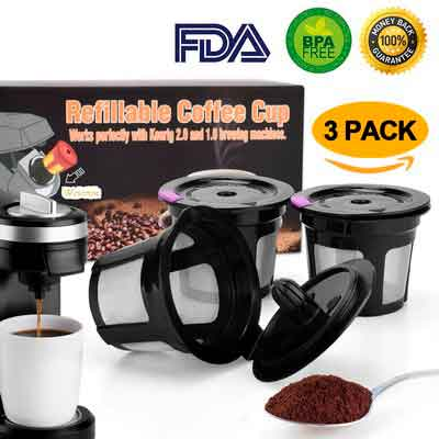 Reusable K Cup Coffee Filter Coffee Stainless Mesh Solo Filter Replacement for Keurig Brewers 1.0 or 2.0 Machine BPA Free