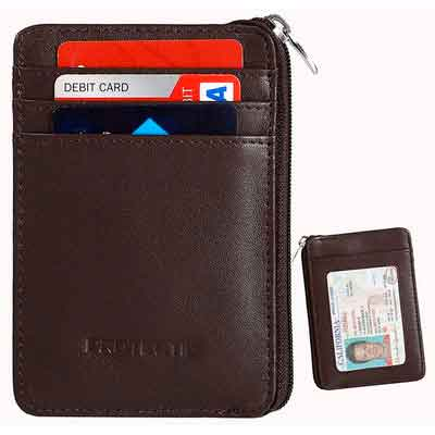 Rfid Blocking Secure Mini Wallet & RFID Sleeve Genuine Leather Front Pocket Wallet