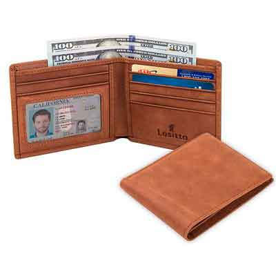 Lositto RFID Blocking Genuine Leather Wallet for Men-Excellent as Travel Bifold