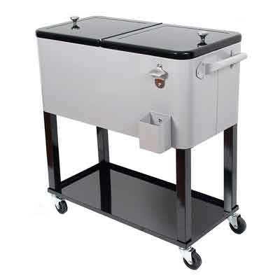UPHA 80 Quart Rolling Ice Chest Portable Party Bar Drink Entertaining Outdoor Patio Cooler Cart on Wheels with Shelf