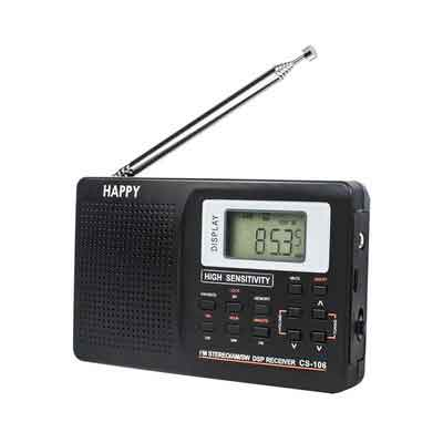 HAPPY 106 Portable Stereo FM AM LW Shortwave Multiband Transistor Radio Receiver with Clock and Alarm