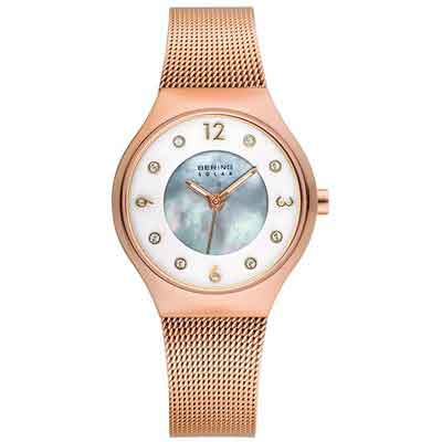 BERING Time 14427-366 Womens Solar Collection Watch with Mesh Band and scratch resistant sapphire crystal. Designed in Denmark.