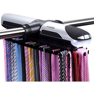 Primode Motorized Tie Rack With LED Lights  Closet Organizer