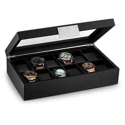 Glenor Co Watch Box for Men - 12 Slot Luxury Carbon Fiber Design Display Case