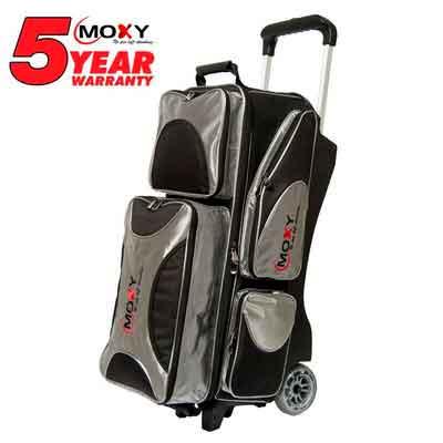Moxy Deluxe Triple Roller Bowling Bag- Silver/Black