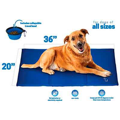 Unleashed Pets Large Self Cooling Pressure Activated Pet Cooling Gel Pad Mat + Collapsible Food Bowl for Dogs