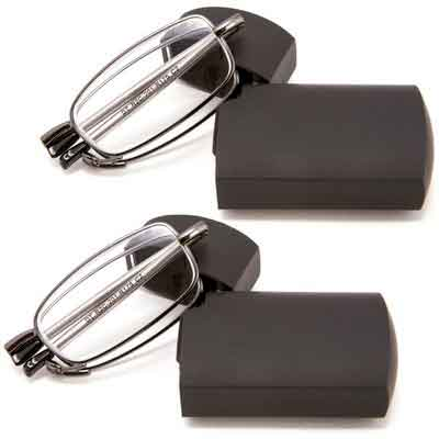 DoubleTake 2 Pairs of Metal Compact Folding Reading Glasses with Mini Flip Top Carrying Case for...