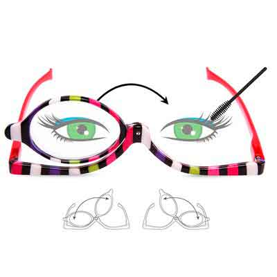 EYEGUARD Readers 2 Pack Magnifying Makeup Glasses Eye Make Up Spectacles Flip Down Lens Folding...