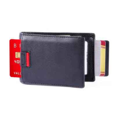 iPulse Minimalist Slim Wallets With RFID Protection -- New York Series Handmade Full Grain Leather Billfold Wallet -- [ Handmade ] [ Hold Up To 10 Cards] [Money Clip] [ Credit Card Holder]
