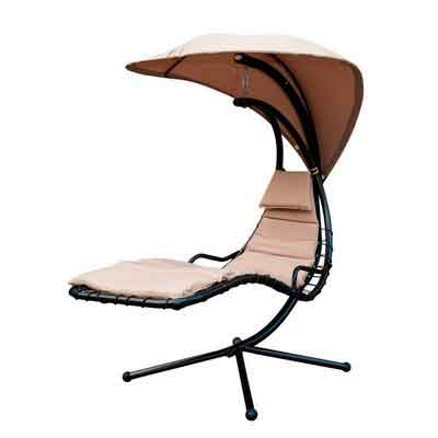 SunLife Porch Swing Patio Hanging Chaise Sling Hammock Lounger Chair with Arc Stand