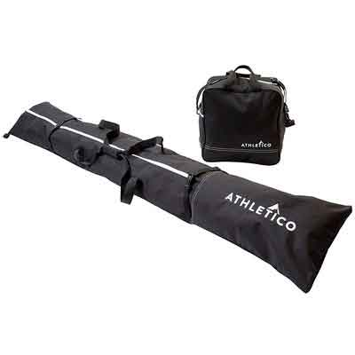 Athletico Two-Piece Ski and Boot Bag Combo | Store & Transport Skis Up to 200 CM and Boots Up To Size 13 | Includes 1 Ski Bag & 1 Ski Boot Bag