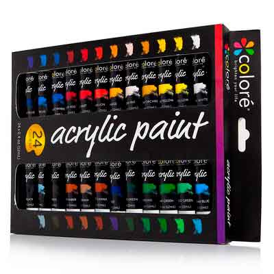 Colore Acrylic Paint Set - 24 Colors