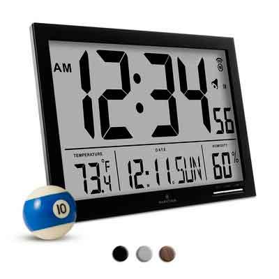 MARATHON CL030062BK Slim-Jumbo Atomic Digital Wall Clock
