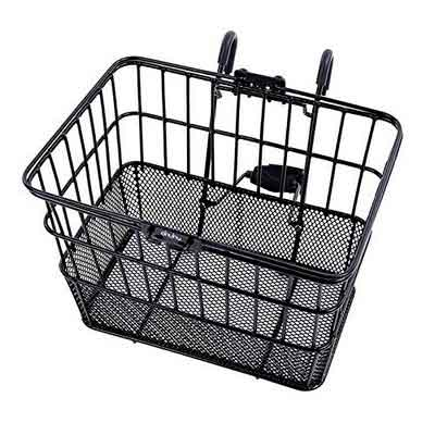 Ohuhu Rust-Proof Quick Release Front Handlebar Bicycle Lift Off Basket / Wire Mesh Bike Basket with Holder