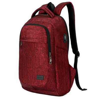 MarsBro Business Travel Water Resistant Polyester 15.6 Inch Laptop Backpack Wine Red