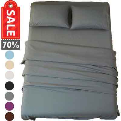 Sonoro Kate Bed Sheet Set Super Soft Microfiber 1800 Thread Count Luxury Egyptian Sheets 18-Inch Deep Pocket Wrinkle and Hypoallergenic-4 Piece