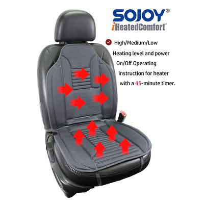 SOJOY Universal 12V Heated Car Seat Heater Heated Cushion Warmer High/Low/Temp Switch