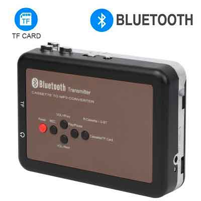 DigitNow! Portable Digital Bluetooth Cassette Audio Music Player Tape-To-MP3 Converter and Cassette Recorder with Earphones