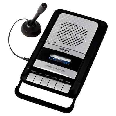 Jensen MCR-100SB Portable Shoe-Box Cassette Recorder/Player & Voice Recorder & Built in Speakers Microphone & Power Adapter Included