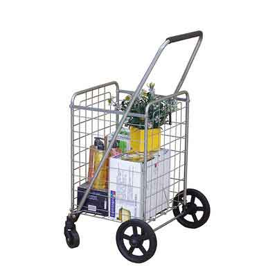 Wellmax WM99024S Grocery Utility Shopping Cart | Easily Collapsible and Portable to Save Space + Heavy Duty