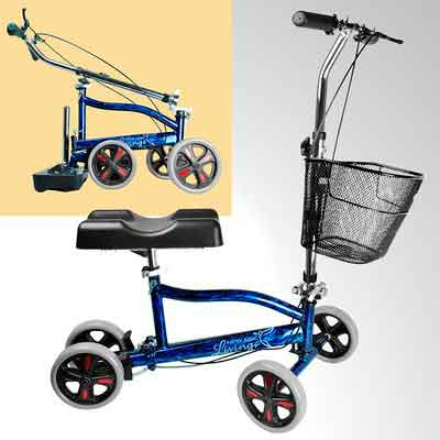 New Age Living Blue Knee Scooter With Basket | Portable Folding Walker Design For Adults | Fully...