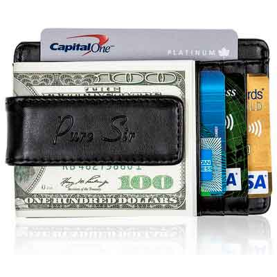 Pure Sir Mens RFID Genuine Leather Slim Wallet w/ Money Clip - The Minimalist Wallet