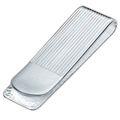 Sterling Silver .925 Money Clip Striped Design with Satin Finish Accent