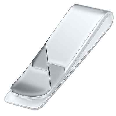 Sterling Silver .925 Money Clip Solid Design Satin Accents
