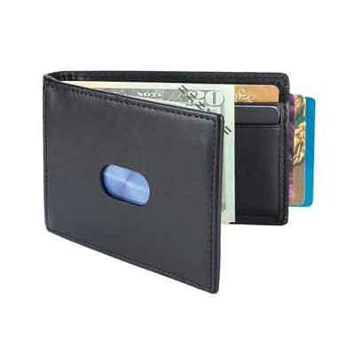 YOOMALL Men Money Clip RFID Blocking Slim Genuine Leather Minimalist Wallet