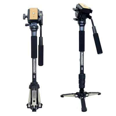 Koolehaoda Professional Camera Aluminium Monopod Fluid Video Head with Folding Three Feet Support Stand