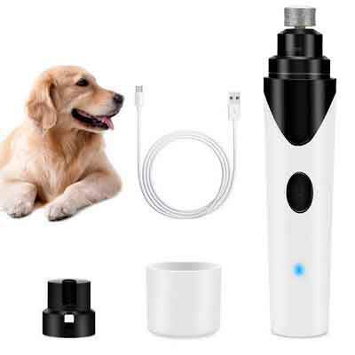 Airsspu Dog Nail Grinder - Electric Nail Trimmer Clipper For Dogs Cats and Small Medium Pets - Rechargeable and Portable - Includes USB Wire