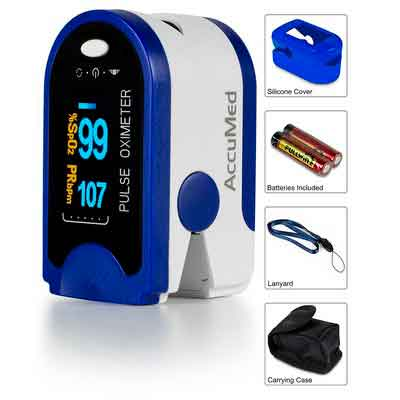 AccuMed CMS-50D Pulse Oximeter Finger Pulse Blood Oxygen SpO2 Monitor w/ Carrying case
