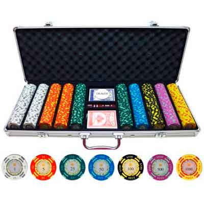 500 Piece Crown Casino 13.5g Clay Poker Chips