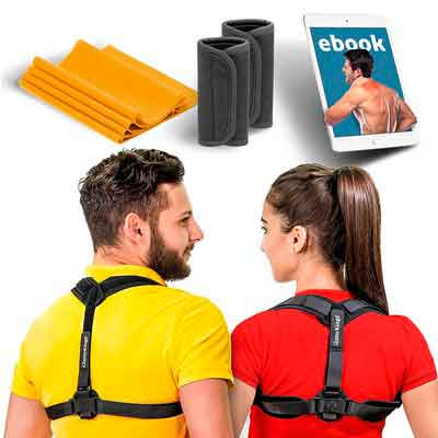 Posture Corrector Brace for Women & Men - Adjustable Clavicle Support for Upper Back Correction + Stretching Band and eBook by GlamyKings