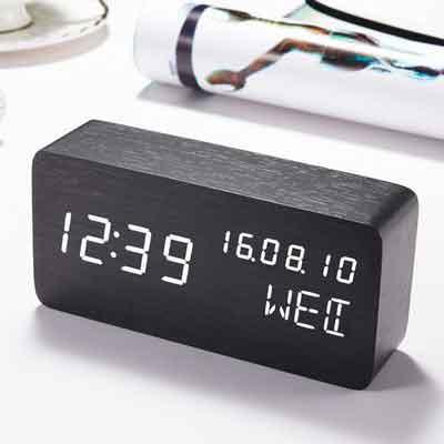 Alarm Clock Wood LED Digital