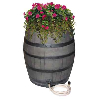 EMSCO Group Rescue 50-Gallon Whiskey Rain Barrel  Includes Planter