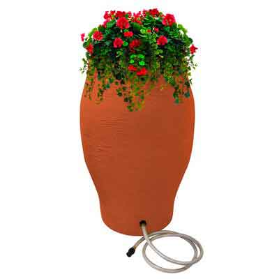 EMSCO Group Rescue 50-Gallon Stoneware Urn Rain Barrel  Includes Planter